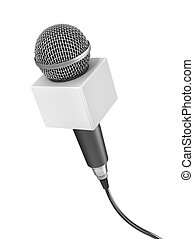 Interview concept. Microphone for interview with blank space on a white background. 3d illustration