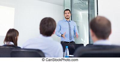 interview., confection, business, métier, présentation, bureau, homme