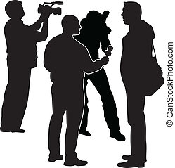 interview with star, moderator, cameraman and photographer