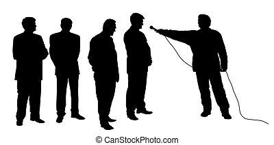 interview, groep, mensen