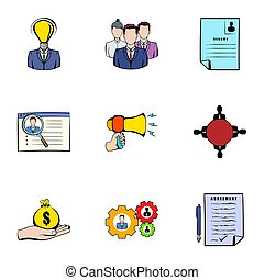 Interview icons set, cartoon style