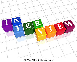 interview in colour - 3d colour boxes with text - interview...