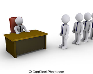 3d people in line wait to be interviewed by person behind a desk