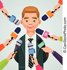 Interview man character. Vector flat cartoon illustration