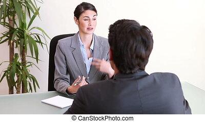 interview, mensen, gedurende, sprekende zaken