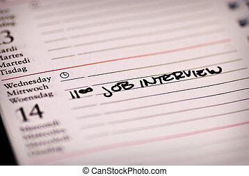 interview, merkzettel, arbeit