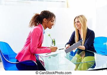 interview, multi, møde, businesswomen, etniske