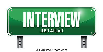 interview, ontwerp, straat, illustratie, meldingsbord