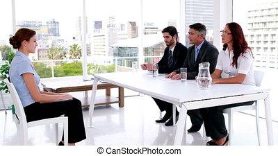 Interview panel speaking