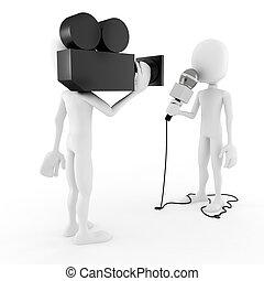 interview, reporter, -, 3d, mann