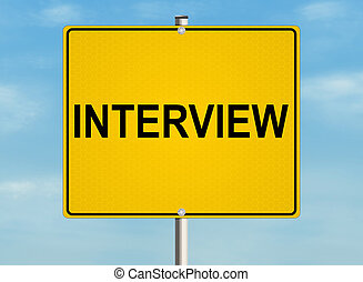 Interview. Road sign on the sky background. Raster illustration.