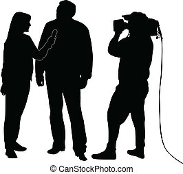 interview, silhouette, vector