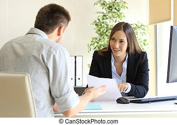 interview, sprechende , arbeit, geschäftsmann