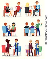 Interview vector interviewed people on business meeting and interviewee or interviewer in office illustration set of man or woman worker characters isolated on white background