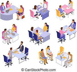 Interview vector interviewee or interviewer people on business meeting and in office illustration set of interviewed man or woman worker characters isolated on white background