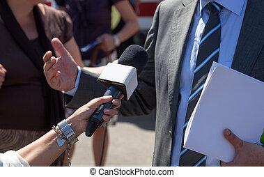 interview, vervaardiging, reporter