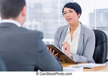 interview, werk, controleren, gedurende, recruiter, kandidaat