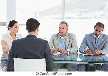 interview, werk, controleren, gedurende, recruiters, kandidaat