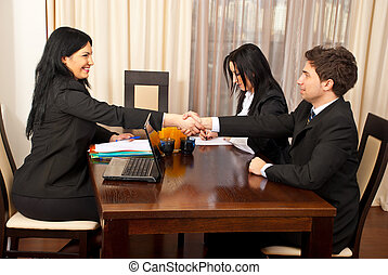 interview, werk, hand schud