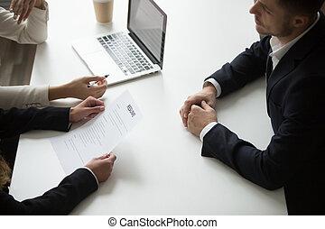 interview, werk, mannelijke , hebben, aanvrager