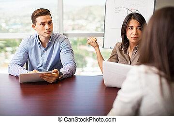 interviewer, a, candidat travail