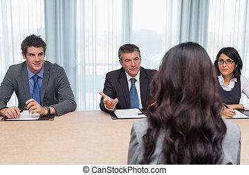 interviewer, fragen, frau, frage