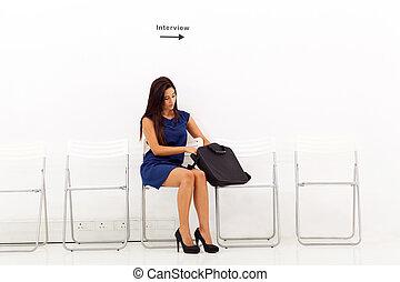 intervista, attesa, donna, lavoro, affari