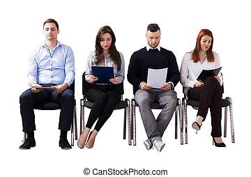 intervista, attesa, lavoro, persone affari