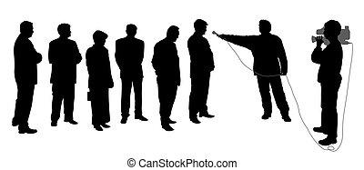 intervista, cameraman, gruppo, persone