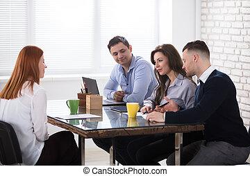 intervista, condotta, lavoro, persone affari