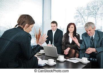 intervista, donna d'affari, lavoro, detenere