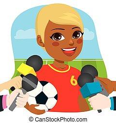 intervista, giocatore, calcio, femmina, reporter