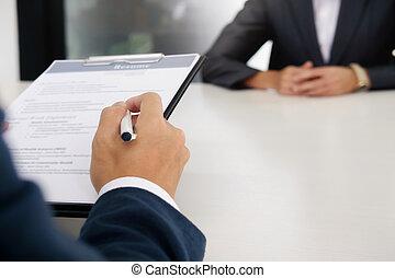 intervista, lavoro, affari, concept., situazione