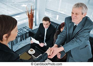 intervista, passa, lavoro, affari donna