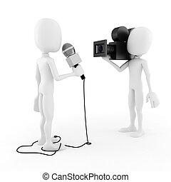 intervista, reporter, -, 3d, uomo