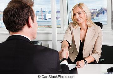 intervju, affär
