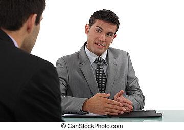 intervju, föra, man