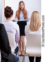 intervju, flicka, jobb