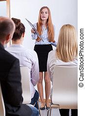 intervju, flicka, svar, ifrågasätter