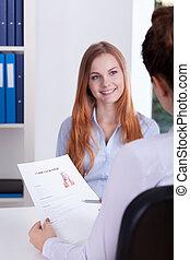 intervju, under, flicka, jobb