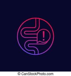 intestin, problèmes, icône, deux points, constipation, ...
