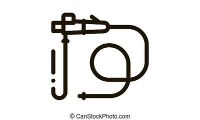 intestinal diagnostic tube Icon Animation. black intestinal diagnostic tube animated icon on white background