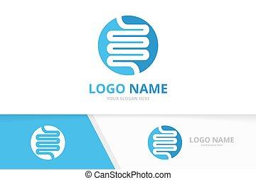 Intestine human organ logo in the circle. Digestive system logotype design template.