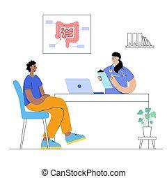 intestino, logotipo, concepto