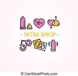 intim, eller, køn shop, concept., vektor