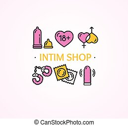 Intim or Sex Shop Concept. Vector - Intim or Sex Shop...