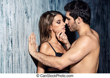intimate desire - Sexy couple play in love games. BDSM.