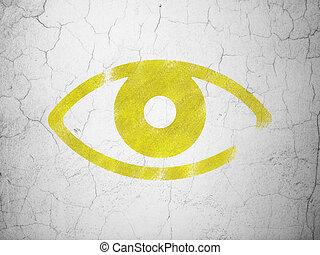intimidad, concept:, ojo, en, pared, plano de fondo
