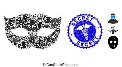 intimidad, icono, rasguñado, serpientes, mosaico, máscara,...