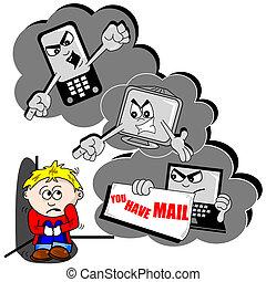 intimidar, caricatura, cyber